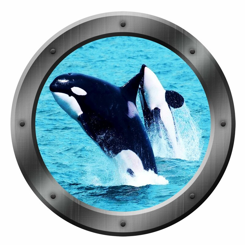 Vwaq Ship Porthole Window Orca Whales Peel And Stick Removable Wall Decal Wayfair