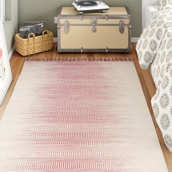 Three Posts Teen Dayse Geometric Handmade Flatweave Wool Pink Ivory Area Rug Reviews Wayfair