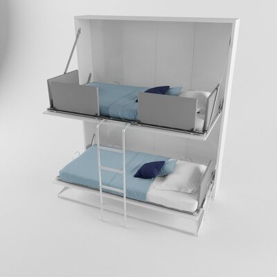 Brayden Studio Gerry Twin Over Twin Murphy Bed Color: Gloss White