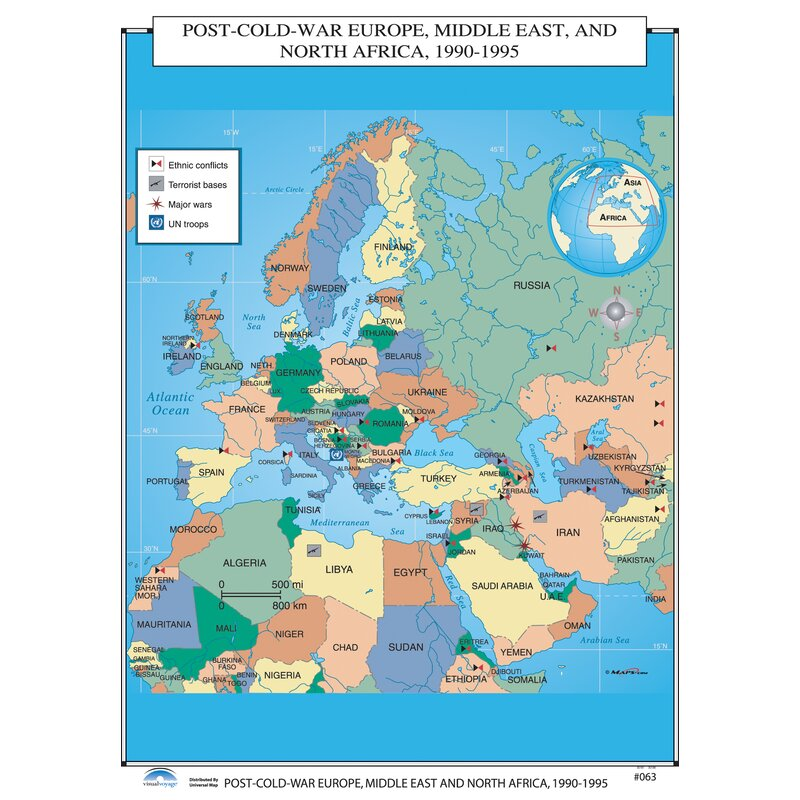 Cold War Map Of Asia.Universal Map U S History Wall Maps Post Cold War Europe Middle