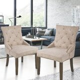 Fleta Tufted Upholstered Parsons Chair in Beige (Set of 2) by Canora Grey