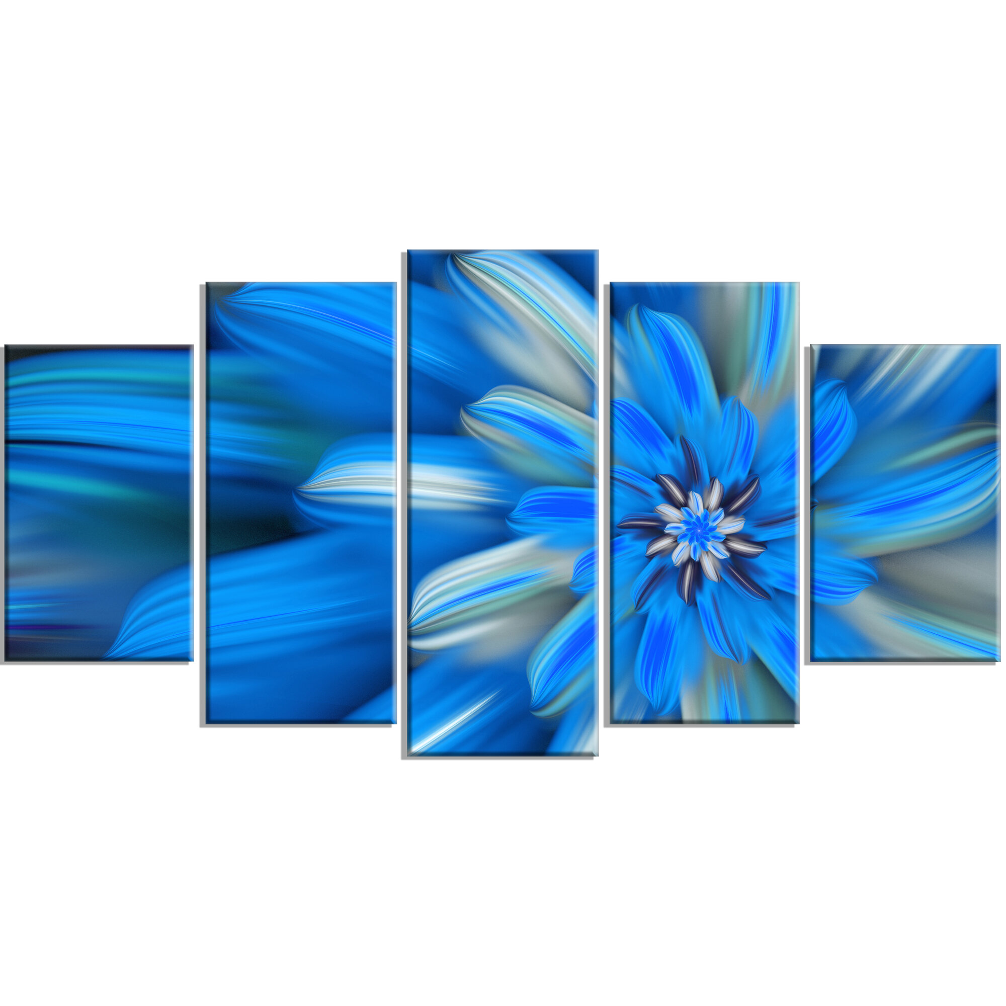 Designart exotic dance of blue flower petals graphic art print designart exotic dance of blue flower petals graphic art print multi piece image on canvas wayfair izmirmasajfo