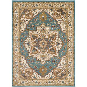 Nicea Rufus Teal Metallic Gold Area Rug