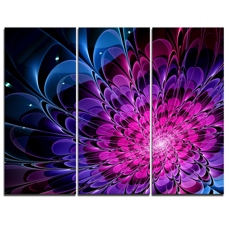 Designart Fractal Purple Rose Flower 3 Piece Graphic Art On Wrapped Canvas Set Wayfair