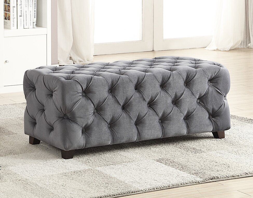 Button Tufted Cocktail Ottoman