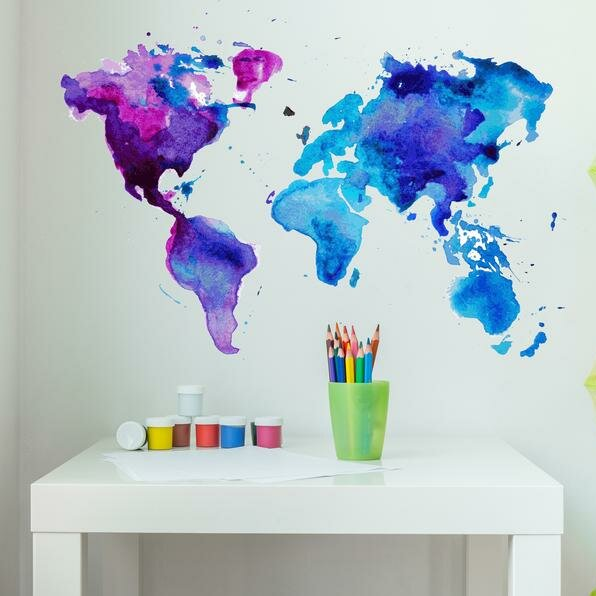 Watercolor World Map Wall Decal Part 42