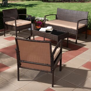 Larissa 4 Piece Rattan Outdoor Sofa Seating Group with Cushions
