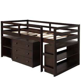Divergent Twin Loft Bed with Desk Shelves and 3 Drawers by Harriet Bee