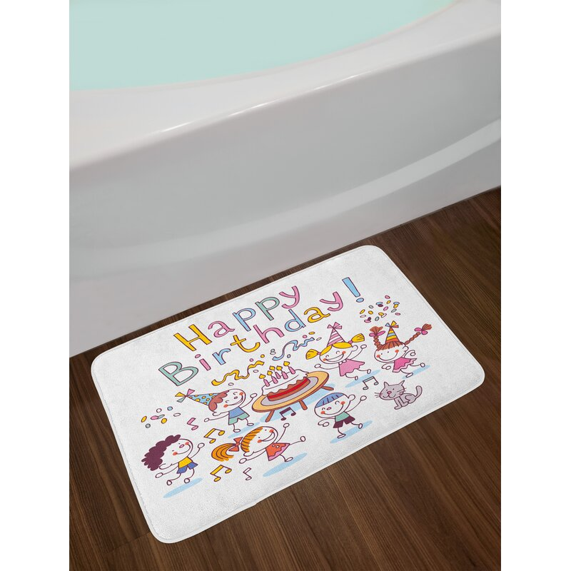 Kindergarten Kids Birthday Bath Rug