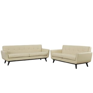 Best Choices Saginaw Leather 2 Piece Living Room Set by Corrigan Studio Reviews (2019) & Buyer's Guide