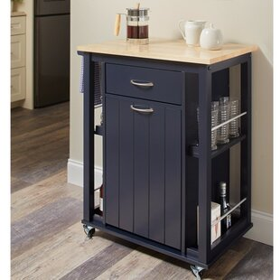 Delray Kitchen Cart with Casters Highland Dunes