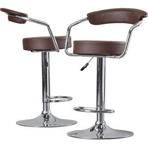 Adjustable Height Swivel Metal Bar Stool (Set of 2)