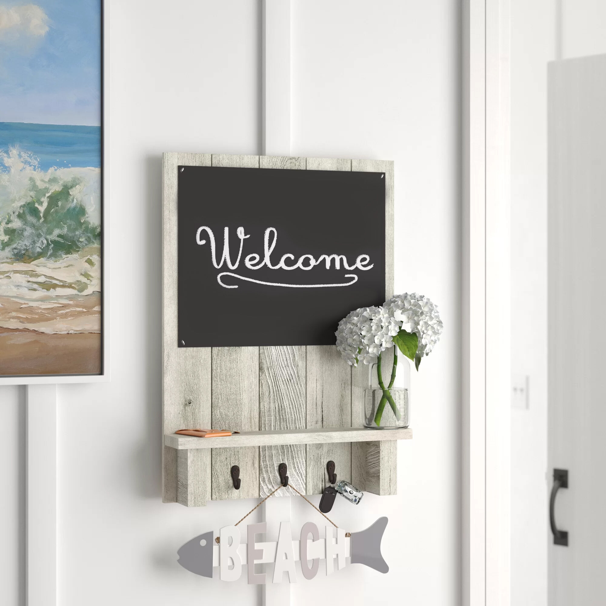 Wooden Sweet Home Theme Wall Mountain Key Holder 6 Hooks Oragniser Wall Hanging