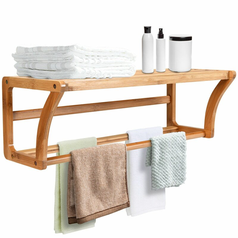 Bay Isle Home Aitkin Bamboo Towel Bar Storage Rack Bathroom Wall