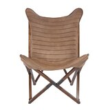 Keila Leather Sling Lounge Chair by Greyleigh
