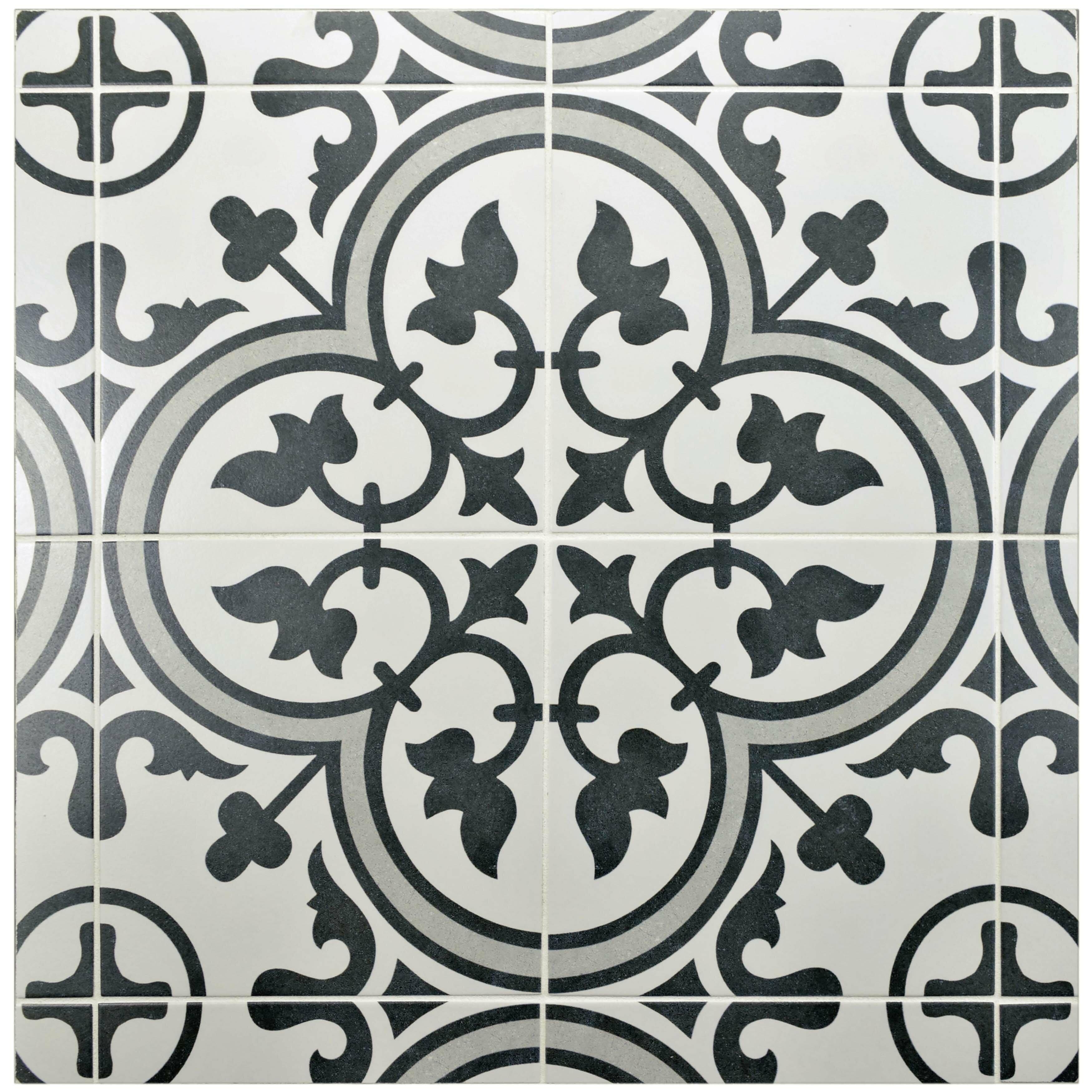 Elitetile allmodern artea 975 x 975 porcelain field tile in dark graywhite dailygadgetfo Choice Image