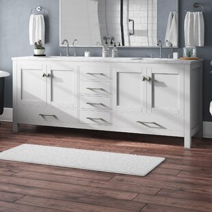 Pichardo Transitional 84 inch  Double Bathroom Vanity Set with Carrera Countertop