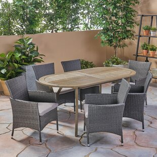 Bungalow Rose Haiden Outdoor 7 Piece Dining Set with Cushions