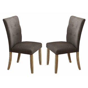 Casandra Wood and Fabric Upholstered Dining Chair (Set of 2) Gracie Oaks