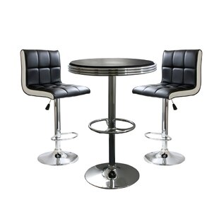 Regeani Contemporary 3 Piece Adjustable Pub Table Set by Ebern Designs