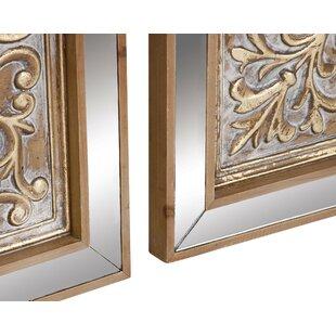 3 piece mirror wall decor wayfair 3 piece metal mirror plaque wall dcor set ppazfo