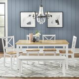 Nielson 6 Piece Solid Wood Dining Set by Rosecliff Heights