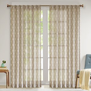 Calais Geometric Sheer Tab Top Single Curtain Panel