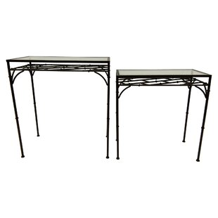Oden Metal Glass Top 2 Piece Nesting Tables