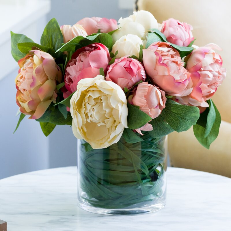 Bright Bridal Peonies and Roses Bushes