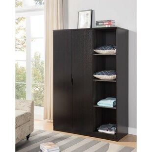Rebrilliant Dewitt Wardrobe with Open Side Shelves Armoire