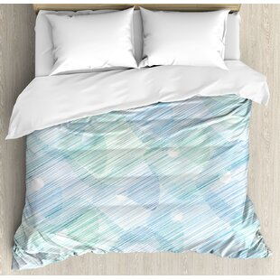 East Urban Home Modern Abstract Geometrical Futuristic Image Stripes and Unknow Background Duvet Set