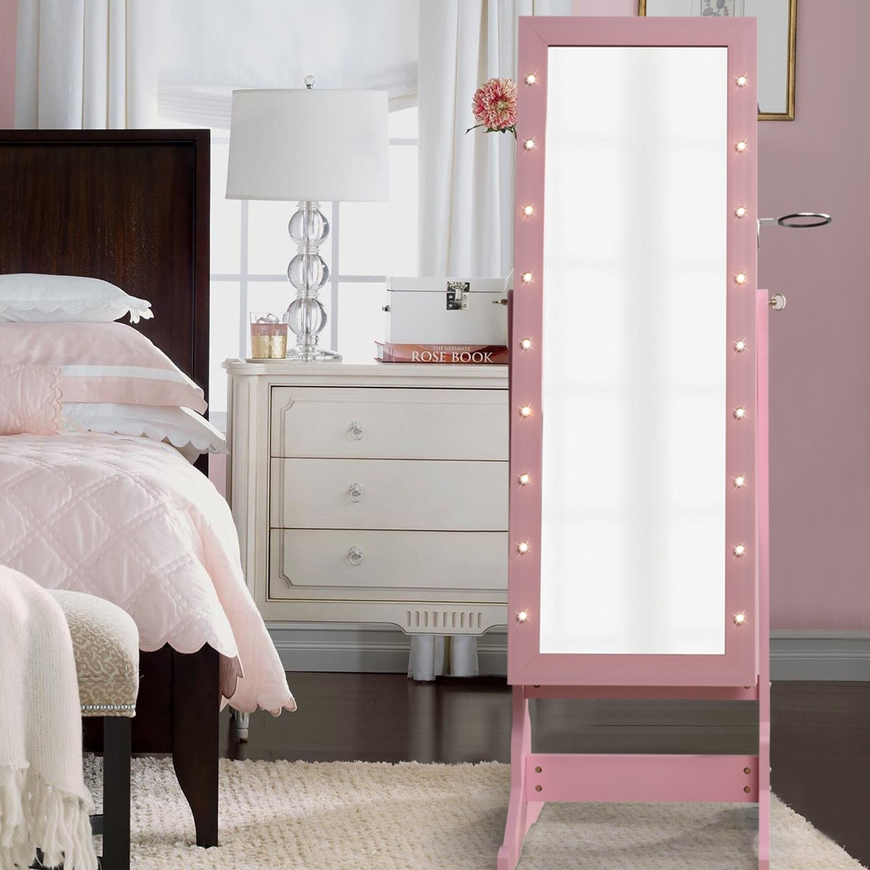 Vanmatre Light Storage Jewelry Armoire with Mirror