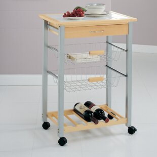 Organize It All Kitchen Cart with Tile Top Organize It All