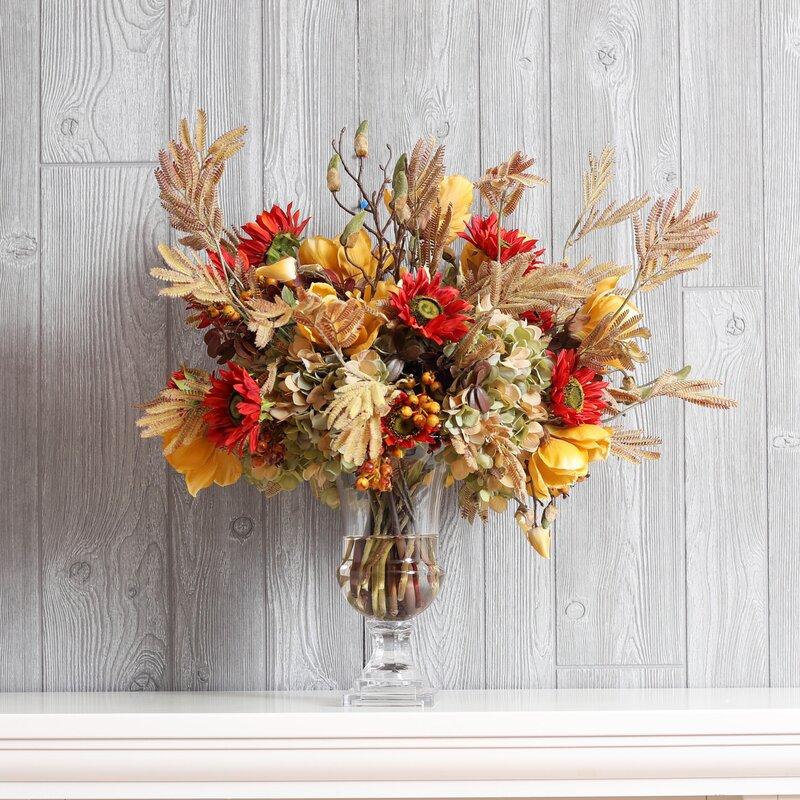 Darbycreektrading Sunflower And Magnolia Fall Floral Arrangement Wayfair
