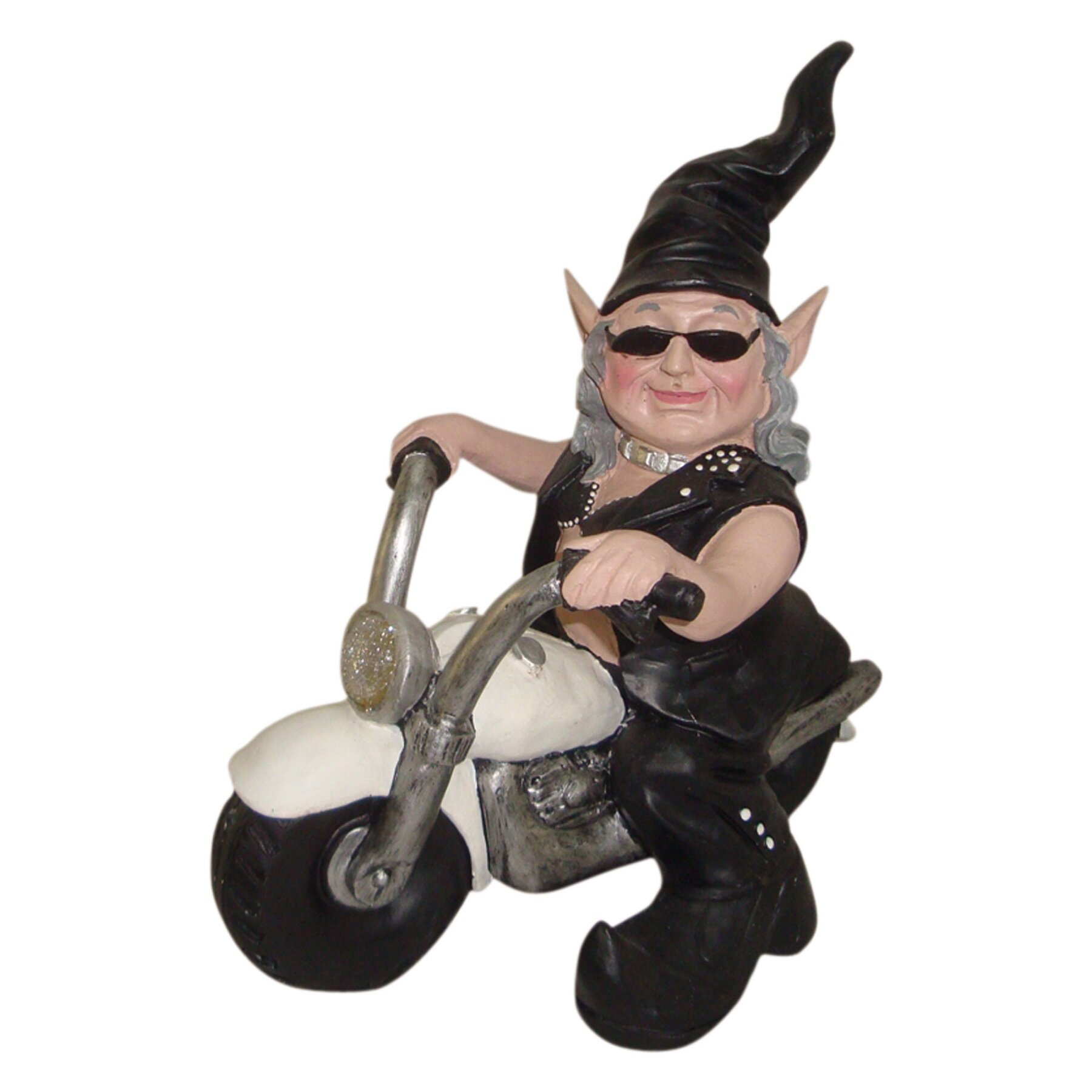 Motorcycle babe images Homestyles Nowaday Gnomes Born To Ride Biker Babe The Gnome In Full Leather Motorcycle Gear Riding Her White Bike Statue Reviews Wayfair