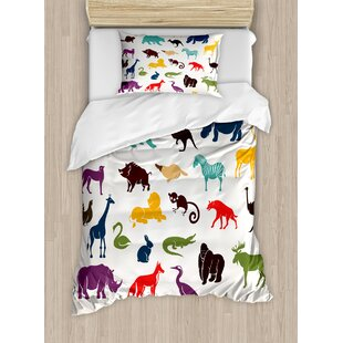 East Urban Home Big Set of African and European Animals Silhouettes in Cartoon Style Safari Wildlife Duvet Set