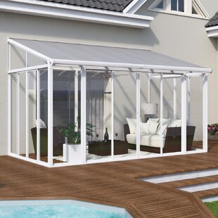Palram San Remo Patio 14 Ft. W x 10 Ft. D Aluminum Wall Mounted Patio Gazebo