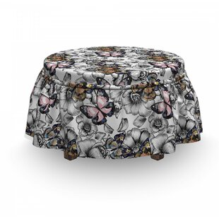 Butterfly Summer Season Animal 2 Piece Box Cushion Ottoman Slipcover Set By East Urban Home