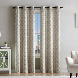 Geometric Room Darkening Grommet Curtain Panels Set Of 2