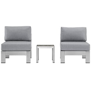 Coline 3 Piece Outdoor Patio Aluminum Sectional Chair Set with Cushions