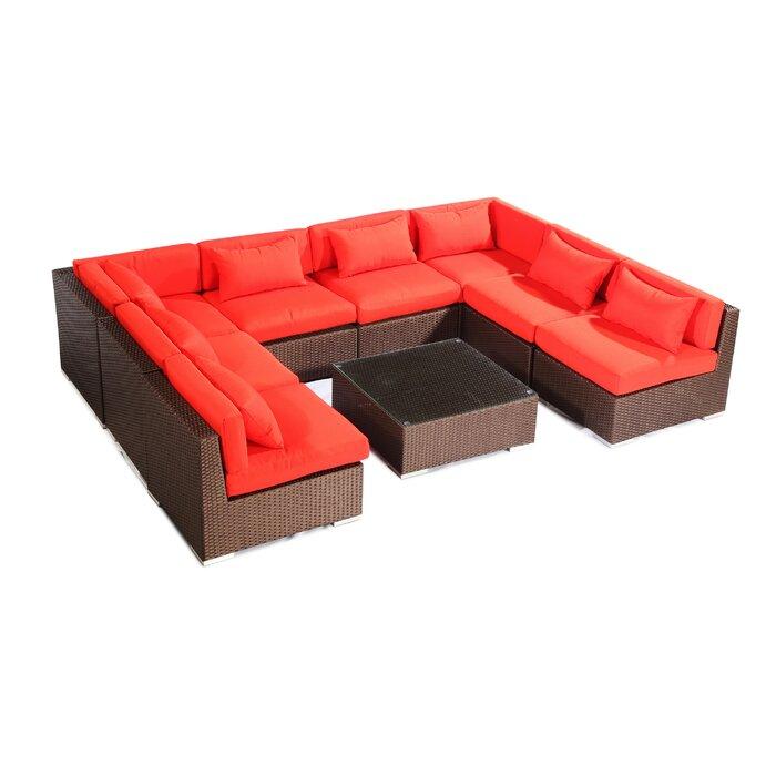 Brilliant Oahu 9 Piece Sectional Set With Cushions Machost Co Dining Chair Design Ideas Machostcouk