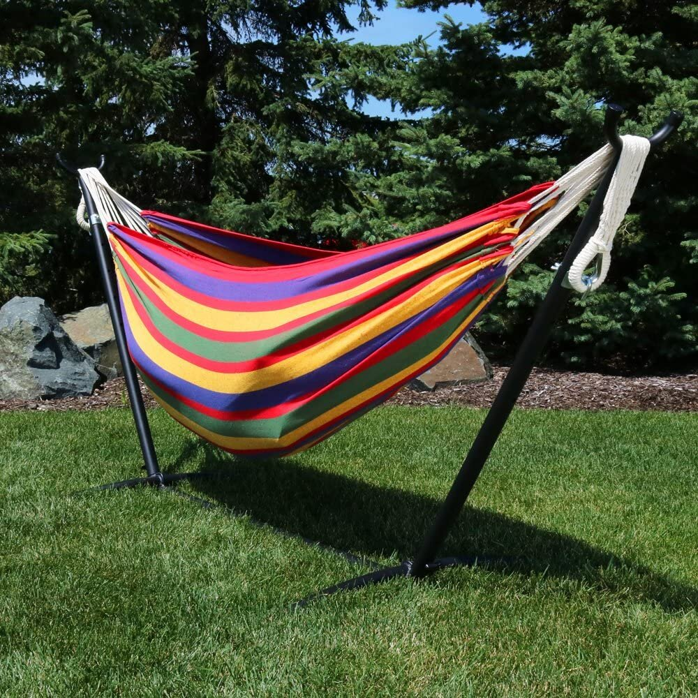 Double Brazilian Hammock With Stand & Carrying Case   Large Two Person  Hammock With Brazilian Stand   10 Pound Capacity   Tropical