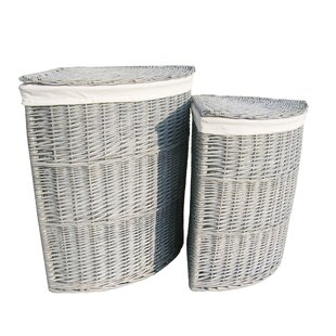 2 Piece Corner Wicker Laundry Set By August Grove