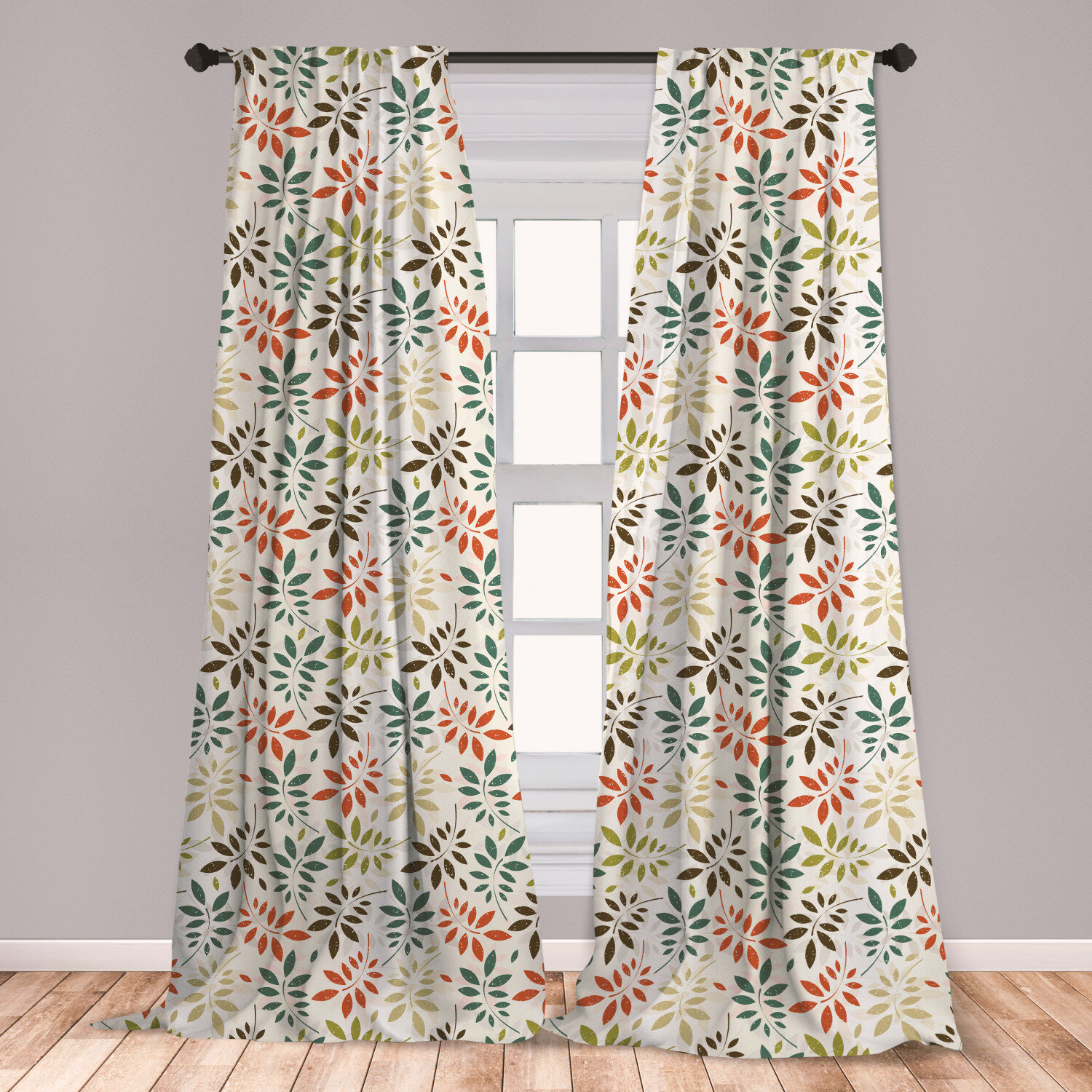 East Urban Home Ambesonne Grunge 2 Panel Curtain Set Vintage Pattern Of Colorful Falling Autumn Leaves Nature Change In Fall Season Theme Lightweight Window Treatment Living Room Bedroom Decor 56 X 63 Multicolor Wayfair