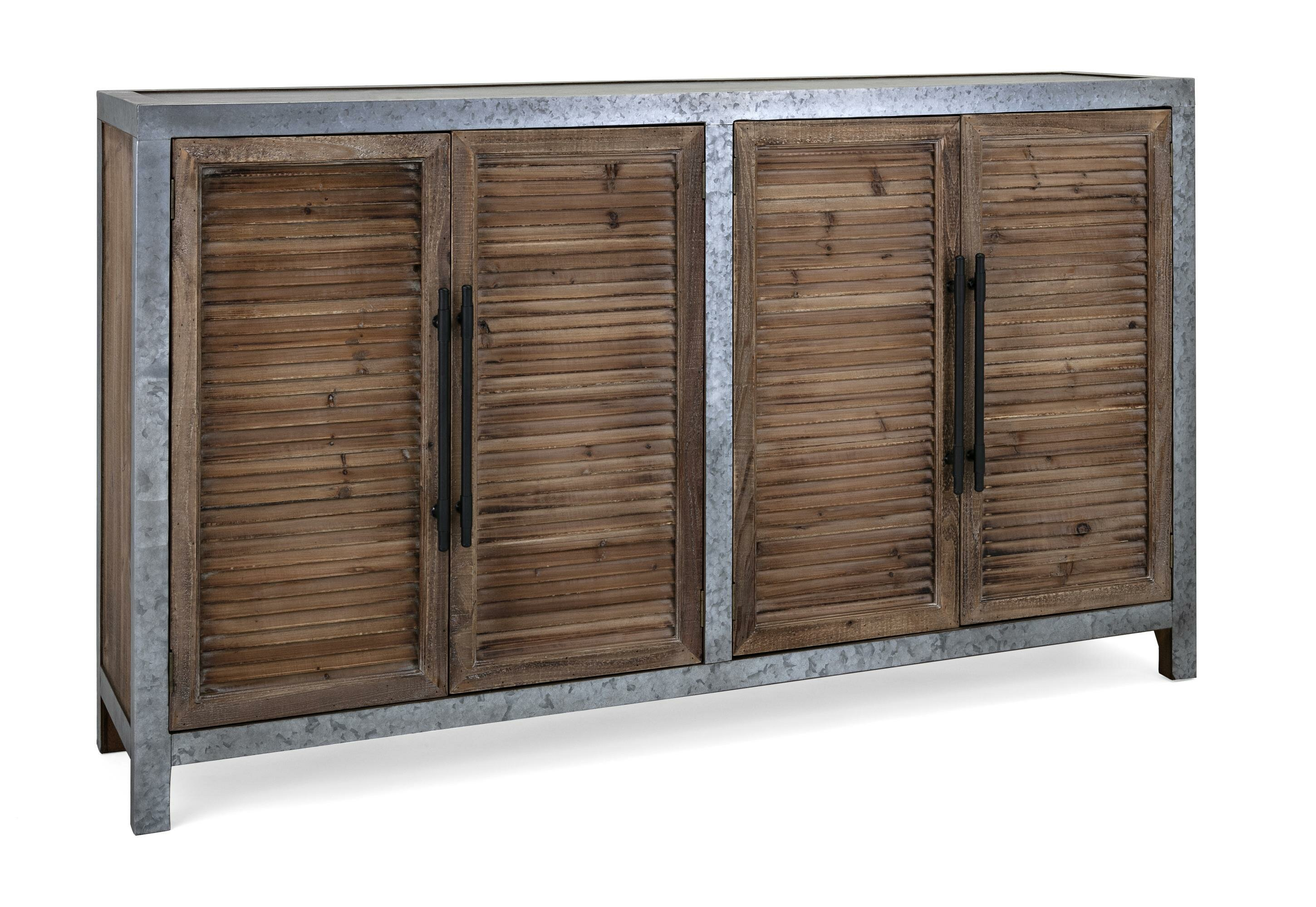 Super Varvara Wood And Metal Sideboard With Four Louvered Cabinet Doors Gray And Brown Download Free Architecture Designs Scobabritishbridgeorg