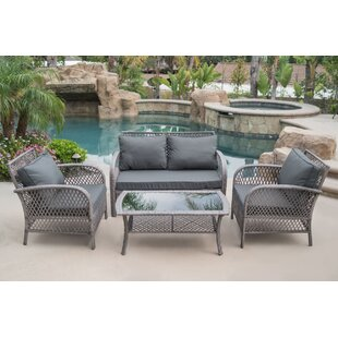 Highland Dunes Ambrosia 4 Piece Rattan Conversation Set with Cushions