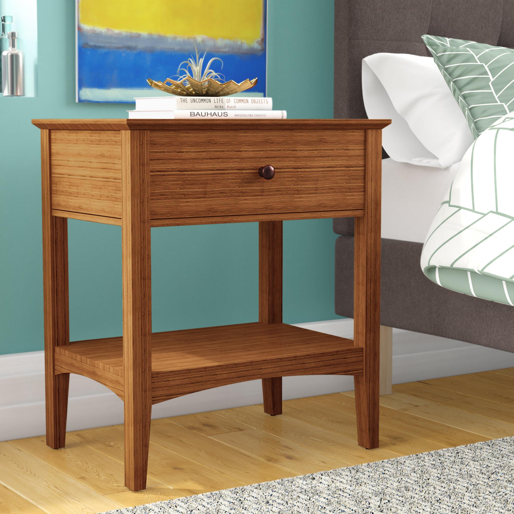 Wrought Studio Ethelsville 1 Drawer Solid Wood Nightstand In Natural Reviews Wayfair Ca