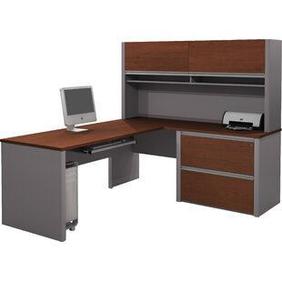 Karla Pedestal L-Shape Executive Desk with Hutch by Latitude Run