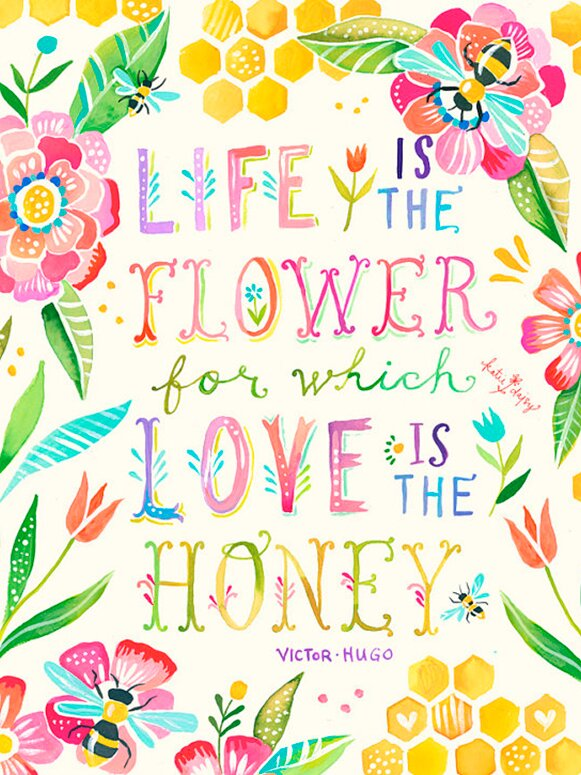 Love is the Honey quote by Victor Hugo - art by Katie Daisy Wall Decal.Happy LOVE Day, Lovelies! Poetry, handlettered art, and colorful Valentine's Day finds await on Hello Lovely Studio!