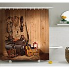 Ambesonne Western American Texas Style Country Music Guitar Cowboy Boots Folk Culture Shower Curtain Set
